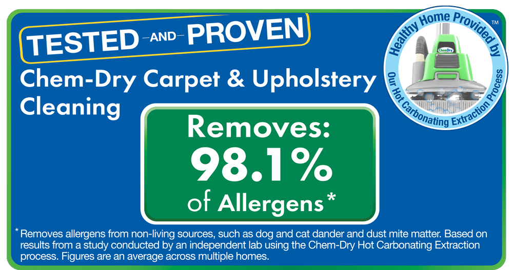 Green Leaf Chem-Dry removes 98% of allergens from carpets and 89% of airborne bacteria